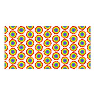 Rainbow Color Flower Pattern. Customized Photo Card