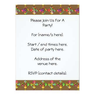 Rainbow Color Flowers. Pattern on Brown. 17 Cm X 22 Cm Invitation Card