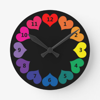 Rainbow Color Hearts on Black Clock with Numbers