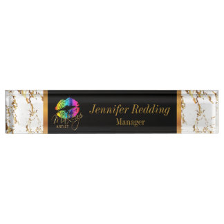 Rainbow Color Lips and Gold Marble - Makeup Artist Name Plate