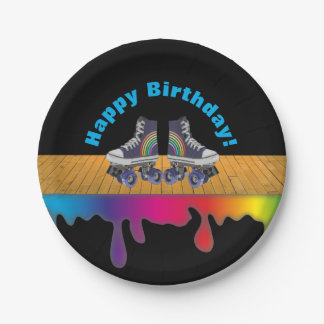 Rainbow Color Paint  Roller Skating Birthday Party 7 Inch Paper Plate