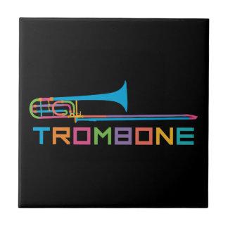 Rainbow Color Trombone Ceramic Tile