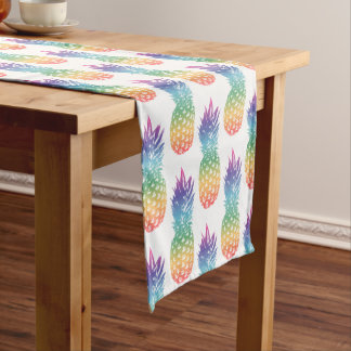 Rainbow color tropical pineapple fruit pattern short table runner