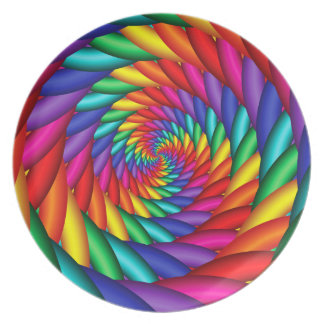 Rainbow Color Twist Melamine Plate