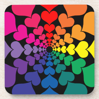 Rainbow Color Valentine Hearts in Circles Coasters
