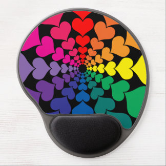 Rainbow Color Valentine Hearts in Circles Gel Mouse Pad