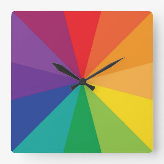 Rainbow Color Wheel Artist Square Wall Clock