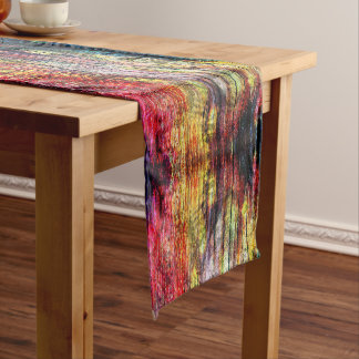 Rainbow Color Wood-print Short Table Runner