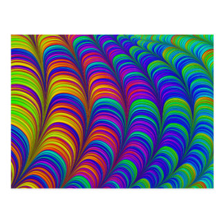 Rainbow colored 3D abstract art Postcard