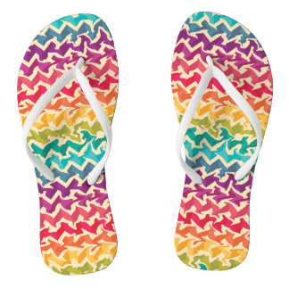 Rainbow colored abstract chevron design thongs