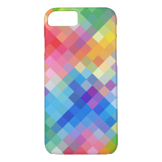 Rainbow Colored Abstract Mosaic Squares Pattern iPhone 7 Case