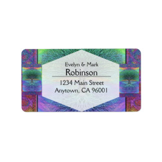 Rainbow Colored Blue and Green Tree Address Label
