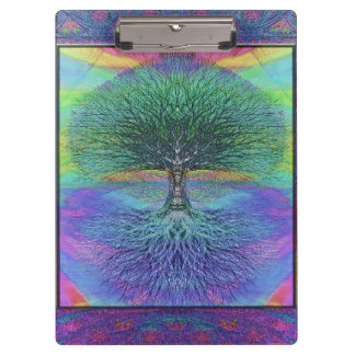 Rainbow Colored Blue and Green Tree Clipboards