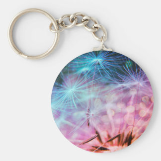 Rainbow Colored Dandelion Puffs Floating Key Ring