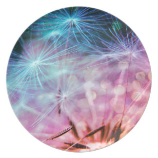 Rainbow Colored Dandelion Puffs Floating Plate