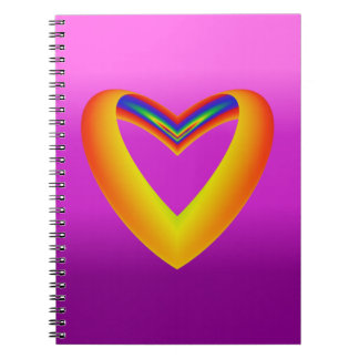 Rainbow Colored Heart w/Purple Gradient Background Notebook