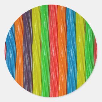 Rainbow colored licorice candy round sticker