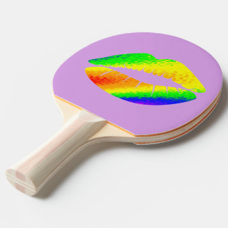 Rainbow Colored Lips Ping Pong Paddle