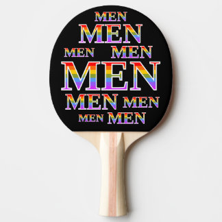 "Rainbow-Colored ""MEN"" Words Ping Pong Paddle"