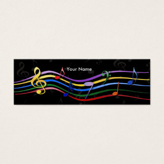 Rainbow Colored Music Notes Mini Business Card