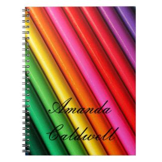 Rainbow colored pencils notebook
