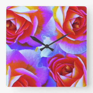 Rainbow Colored Roses Wall Clocks