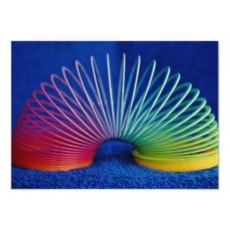 Rainbow-colored slinky toy 13 cm x 18 cm invitation card