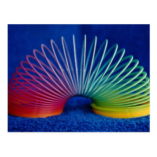 Rainbow-colored slinky toy postcard