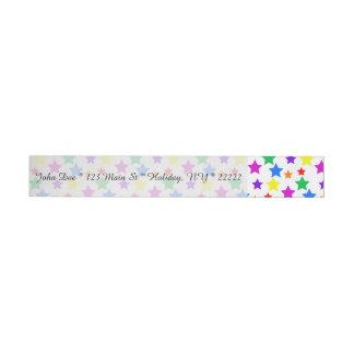 Rainbow Colored Stars Wraparound Address Label