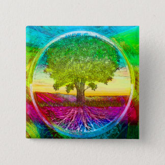 Rainbow Colored Tree of Life 15 Cm Square Badge