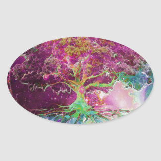 Rainbow Colored Tree of Life Oval Sticker