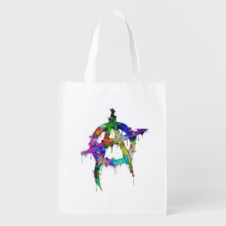 Rainbow Colorful Anarchy Symbol Reusable Grocery Bag