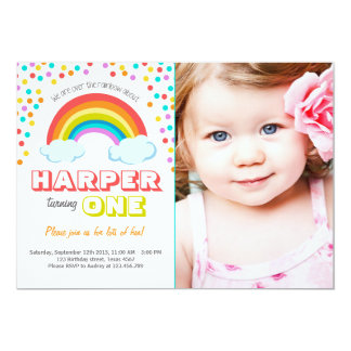 Rainbow Colorful Birthday Party Invitation