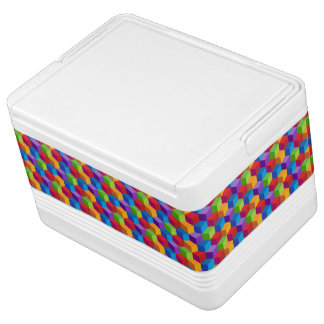 Rainbow Colorful Block Cube Pattern Cooler