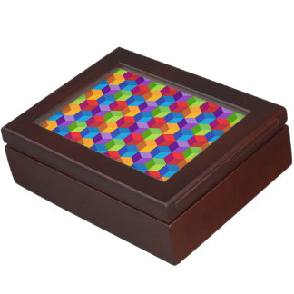 Rainbow Colorful Block Cube Pattern Keepsake Box