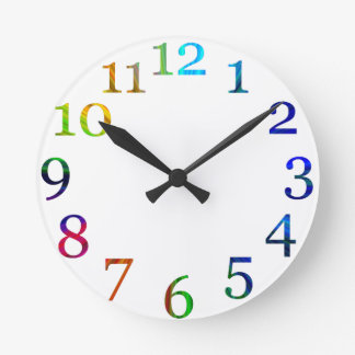 rainbow colorful numbers wall clock
