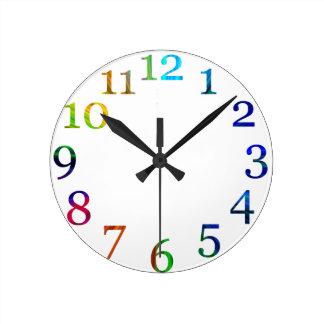 rainbow colorful numbers wall clock wall clocks