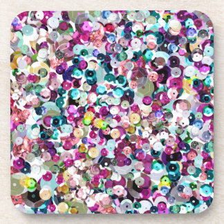 Rainbow Colorful Sequin Sparkles All Over Print Drink Coaster