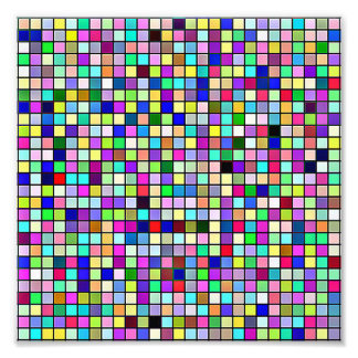 Rainbow Colors And Pastels Square Tiles Pattern Photographic Print