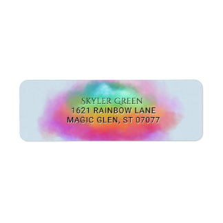 Rainbow Colors Birthday Watercolor Clouds Return Address Label