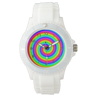 Rainbow Colors. Bright and Colorful Spiral. Wristwatch