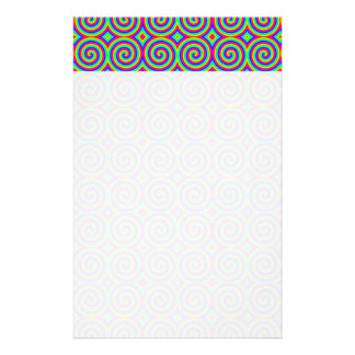 Rainbow Colors Bright and Colorful Spirals Customized Stationery