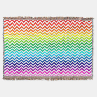 Rainbow Colors Chevron Zig Zag Pattern Throw Blanket
