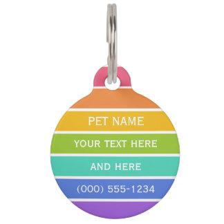 Rainbow Colors custom pet tag