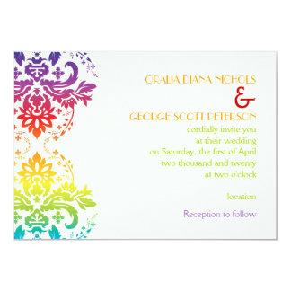 Rainbow colors damask wedding 13 cm x 18 cm invitation card