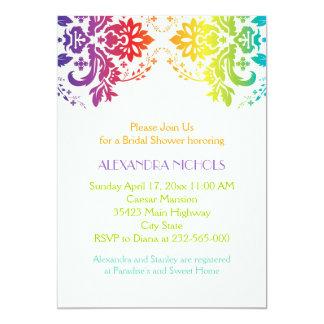 Rainbow colors damask wedding bridal shower 13 cm x 18 cm invitation card