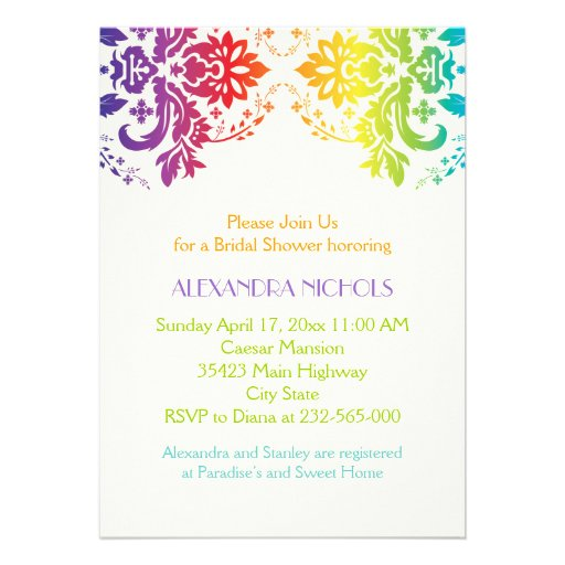 Rainbow colors damask wedding bridal shower personalized announcements