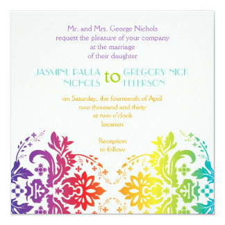 Rainbow colors damask wedding card