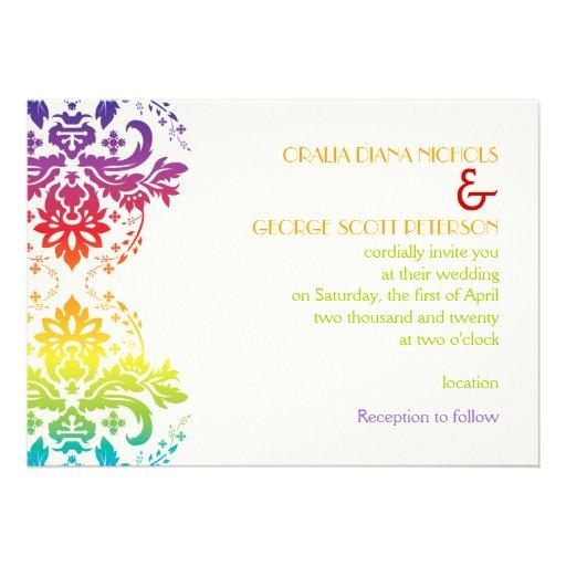 Rainbow colors damask wedding invite