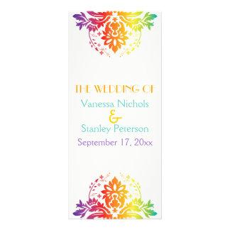 Rainbow colors damask wedding program rack card